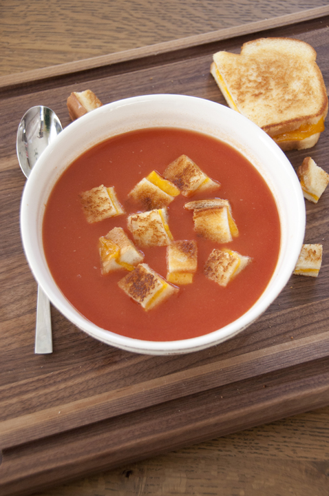 Tomato Soup with Grilled Cheese Croutons from Wishes and Dishes, featured on cravingsofalunatic.com for our weekly meal plan, week 29. Swing by the blog every Saturday for more great meal plans. (@CravingsLunatic)