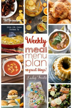 Weekly Meal Plan Week 29 - 10 great bloggers bringing you a full week of recipes including dinner, sides dishes, and desserts!