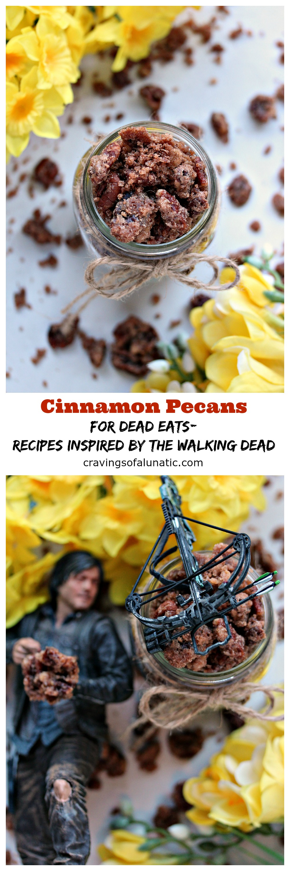 Cinnamon Pecans for Dead Eats 2: Recipes Inspired by The Walking Dead. Pecans coated with sugar and cinnamon, then toasted in the oven to perfection. Eat your fill, but don't look at the flowers.