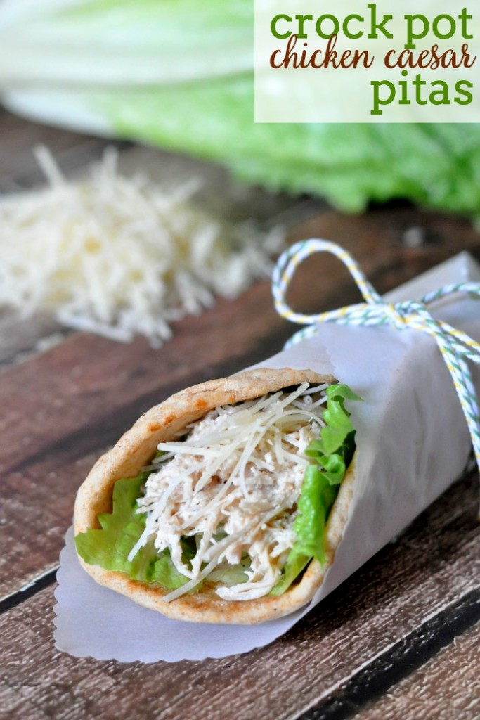 Crock Pot Chicken Caesar Pitas – The Love Nerds, featured on cravingsofalunatic.com for our Slow Cooker Recipe Round Up Collaboration. (@CravingsLunatic)