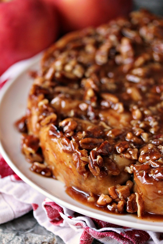 Overnight Apple Pecan Caramel Sticky Buns from cravingsofalunatic.com- This sticky bun recipe perfectly combines apples, pecans and caramel for the most amazing breakfast you will ever eat. (@CravingsLunatic)