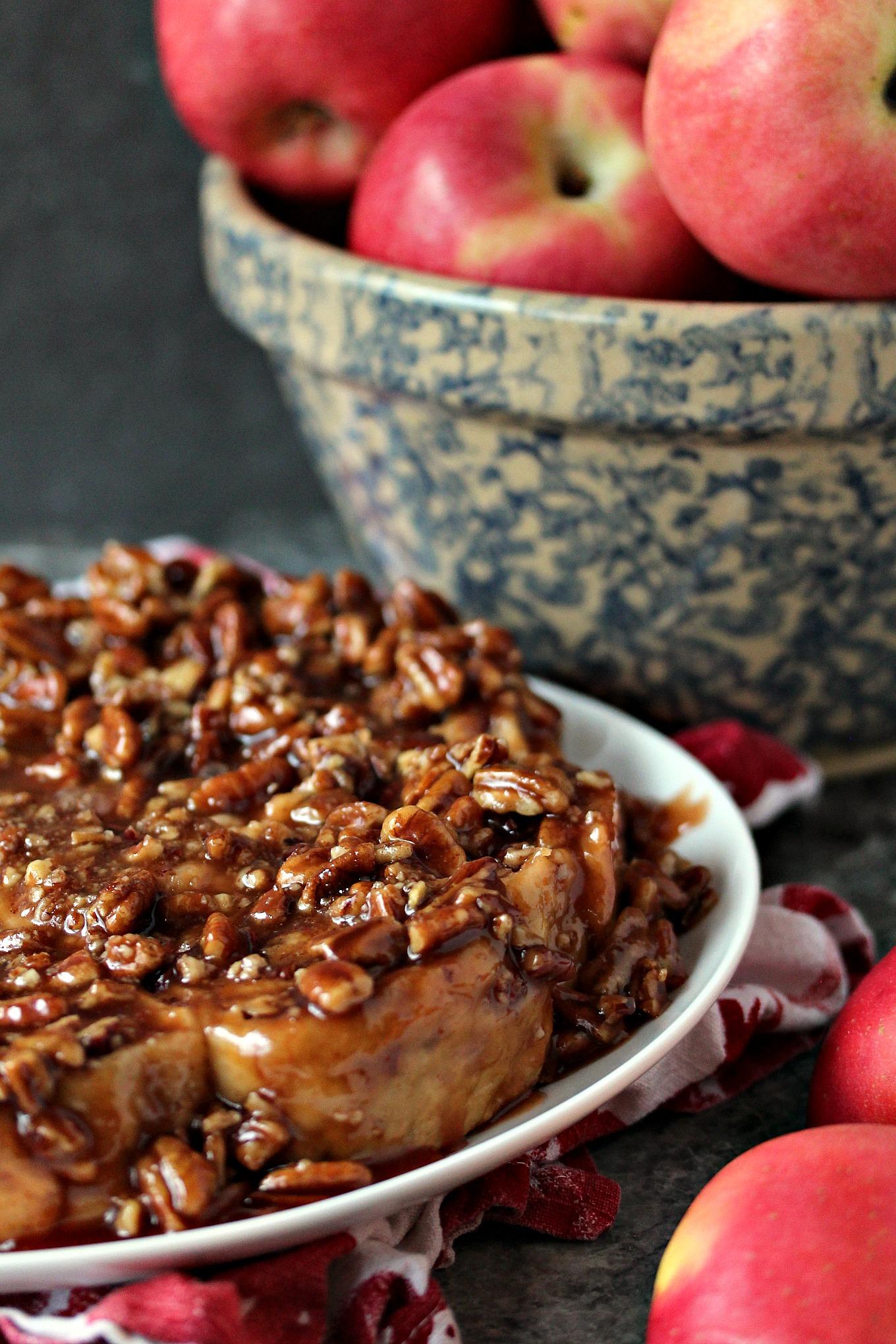 Overnight Apple Pecan Caramel Sticky Buns