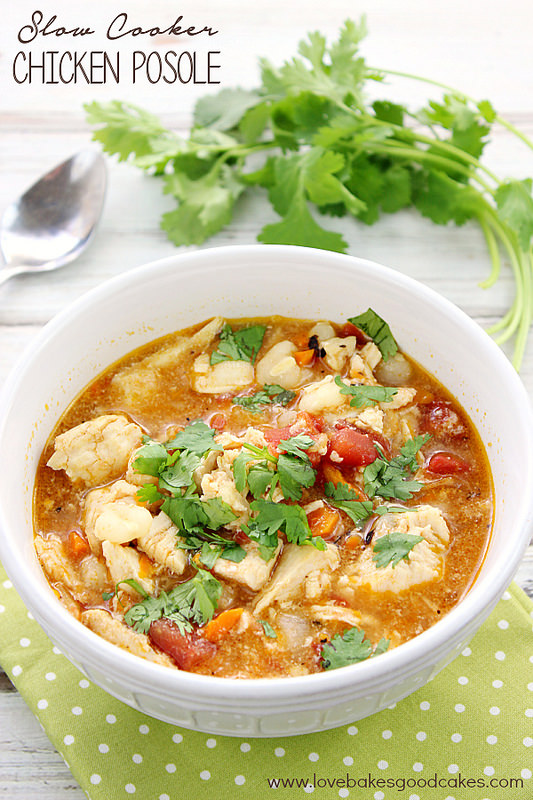 Slow Cooker Chicken Posole – Love Bakes Good Cakes, featured on cravingsofalunatic.com for our Slow Cooker Recipe Round Up Collaboration. (@CravingsLunatic)