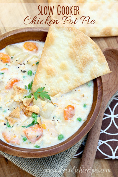 Slow Cooker Chicken Pot Pie – Let's Dish, featured on cravingsofalunatic.com for our Slow Cooker Recipe Round Up Collaboration. (@CravingsLunatic)