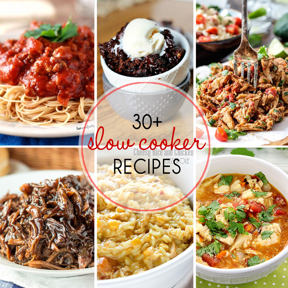 Slow Cooker Recipe Round Up collage image