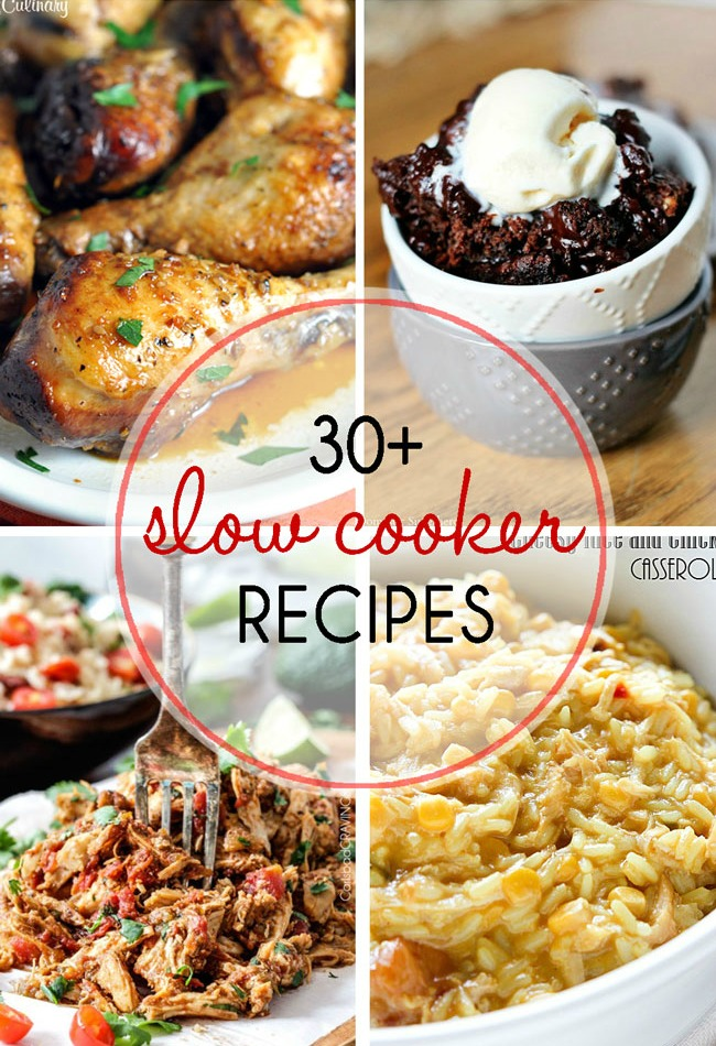 Slow Cooker Recipe Round Up image featuring 4 photos of cooked recipes.