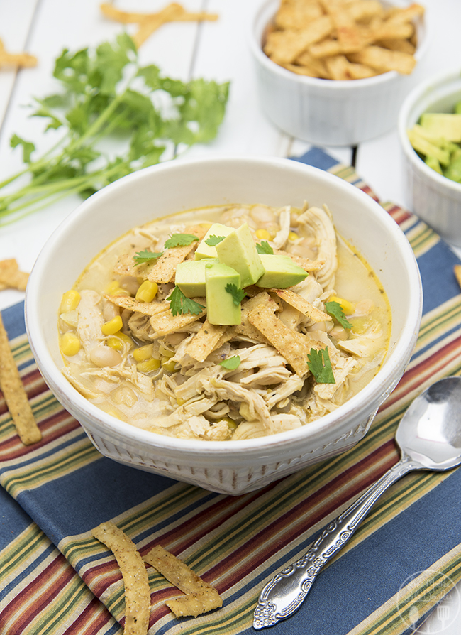 Slow Cooker White Chicken Chili – Like Mother Like Daughter, featured on cravingsofalunatic.com for our Slow Cooker Recipe Round Up Collaboration. (@CravingsLunatic)