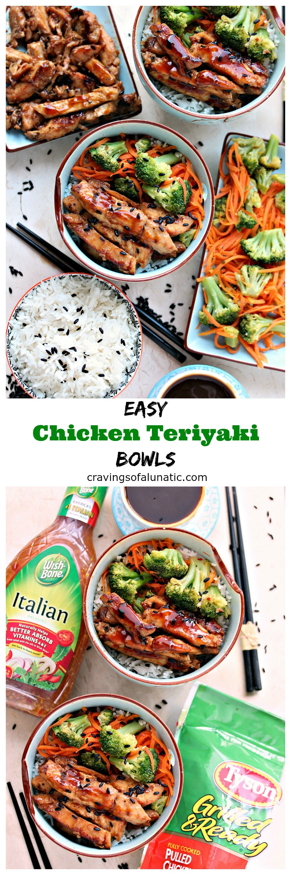 Easy Teriyaki Bowls from cravingsofalunatic.com- This recipe is incredibly quick and easy. It's the perfect way to get more vegetables in your diet without sacrificing taste and creativity. We serve ours over rice, but you can serve it over noodles, bean sprouts, or a fabulous salad. (@CravingsLunatic)