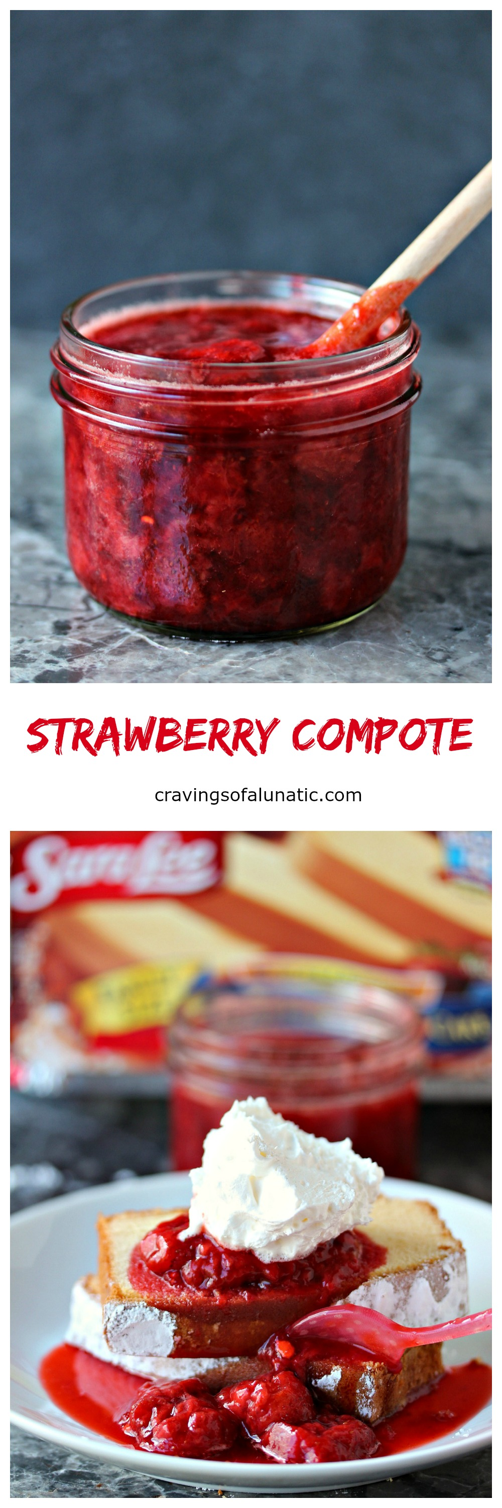 Strawberry Compote from cravingsofalunatic.com- Simple to make and utterly delicious. This 3 ingredient Strawberry Compote is perfect for pouring over Sara Lee® Pound Cake, or ice cream, or anything else you little heart desires! (@CravingsLunatic)
