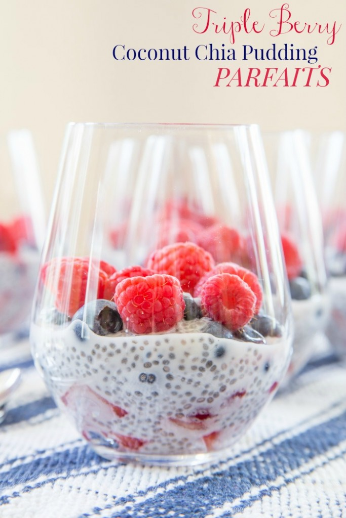 Triple Berry Coconut Chia Pudding Parfaits – Cupcakes & Kale Chips