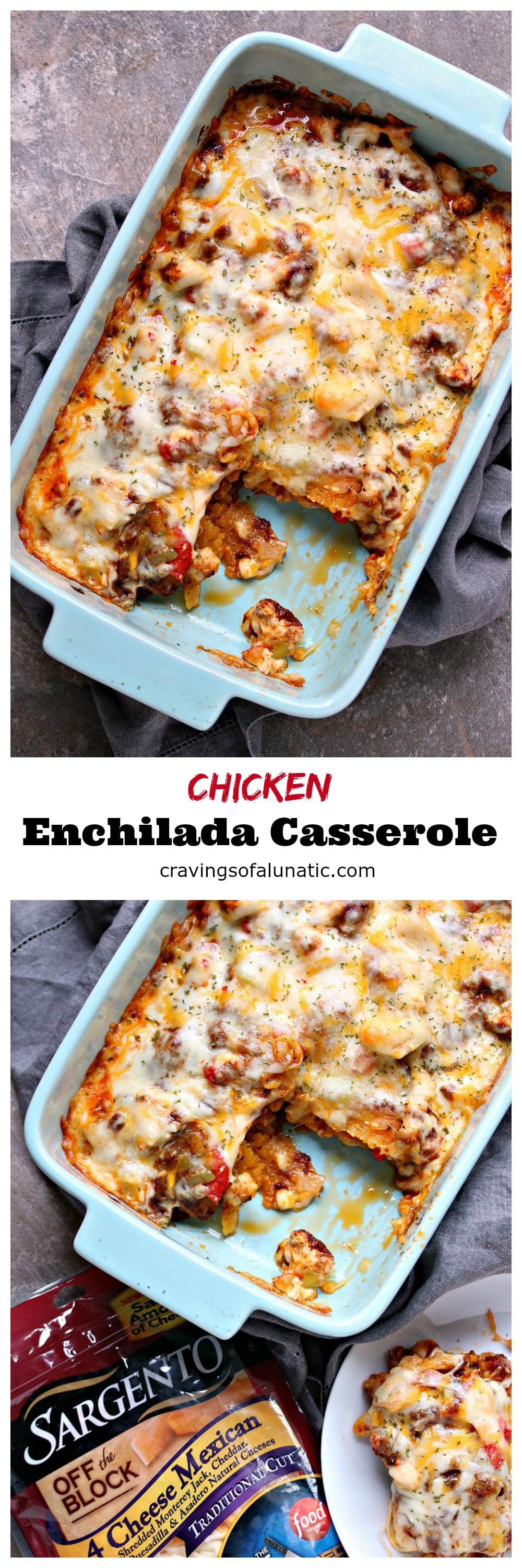 Chicken Enchilada Casserole from cravingsofalunatic.com- This scrumptious Chicken Enchilada Casserole is layered with corn tortillas, chicken, Poblano peppers, enchilada sauce, and Sargento cheese. It's a hit with everyone who tastes it. (@CravingsLunatic)
