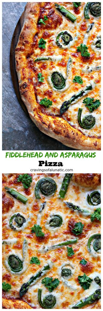 Fiddlehead and Asparagus Pizza from cravingsofalunatic.com- This pizza makes tasty use of spring vegetables. Top your pizza with fiddleheads and asparagus for a delicious fresh pizza. Make the most of this year's fiddlehead season! (@CravingsLunatic)