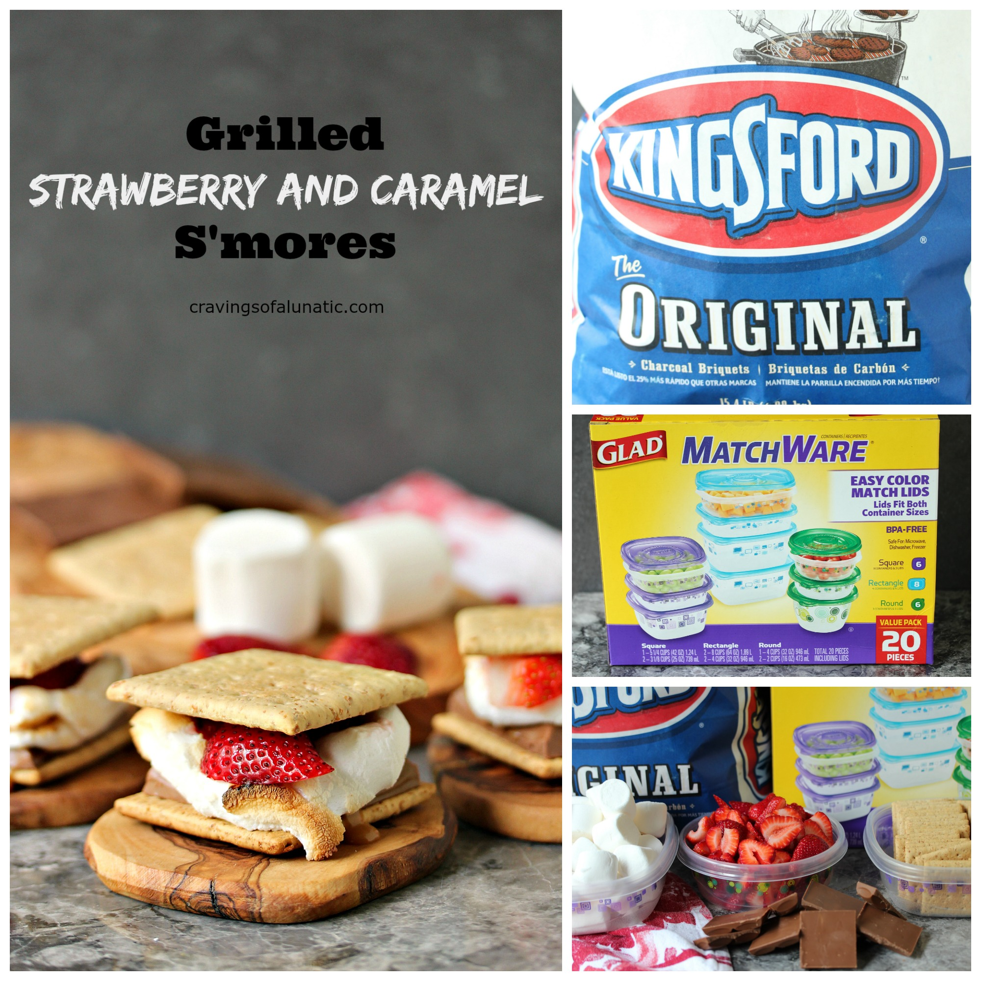 Grilled Strawberry and Caramel S'mores from cravingsofalunatic.com- Classic S'mores with a twist. These Grilled Strawberry and Caramel S'mores are made with graham crackers, chocolate bars filled with caramel, marshmallows, and fresh strawberries. (@CravingsLunatic)