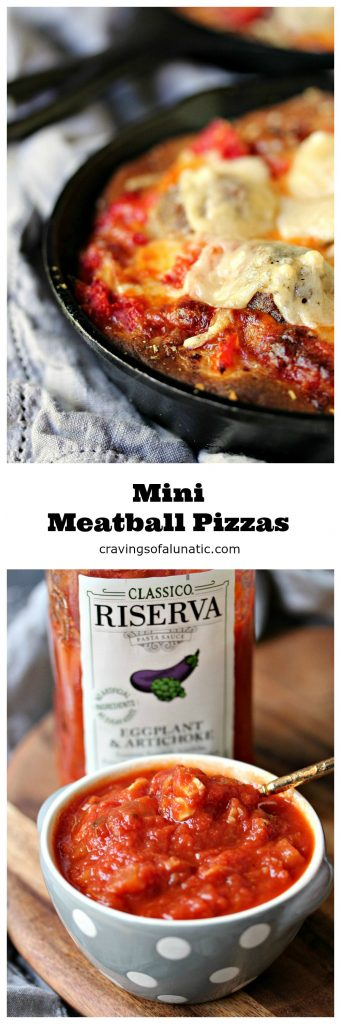 Mini Meatball Pizzas from cravingsofalunatic.com- Mini pizzas are always a huge hit with family and friends. This recipe is packed full of meatballs and cheese. Big flavour served in mini cast iron pans. (@CravingsLunatic)