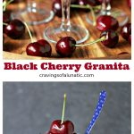 Black cherry granita collage image featuring two images of the granita being served in glasses and paper cones on a wood board.