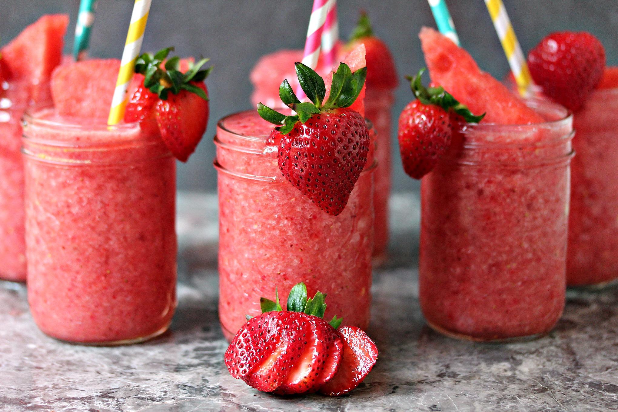 Boozy Strawberry Watermelon Slushies from cravingsofalunatic.com ...