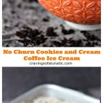 No churn cookies and cream ice cream collage image. Top photo is ice cream in an orange and white bowl on a marble counter. Bottom image is ice cream in a loaf pan being scooped with a metal ice cream scoop.
