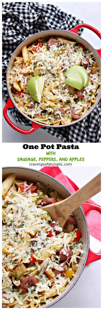 One Pot Pasta with Sausage, Peppers, and Apples from cravingsofalunatic.com- This easy pasta recipe uses sliced sausages, red and yellow peppers, plus Gala apples, and Granny Smith apples. It's all made in one pot, and is incredibly quick and easy to make! (@CravingsLunatic)