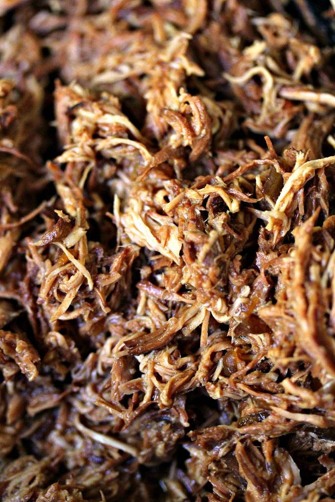 Close up image of Slow Cooker Pulled BBQ Chicken.