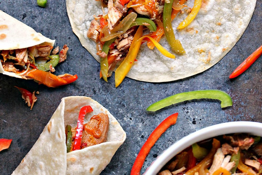 Slow Cooker Chicken Fajitas served up on a grey counter