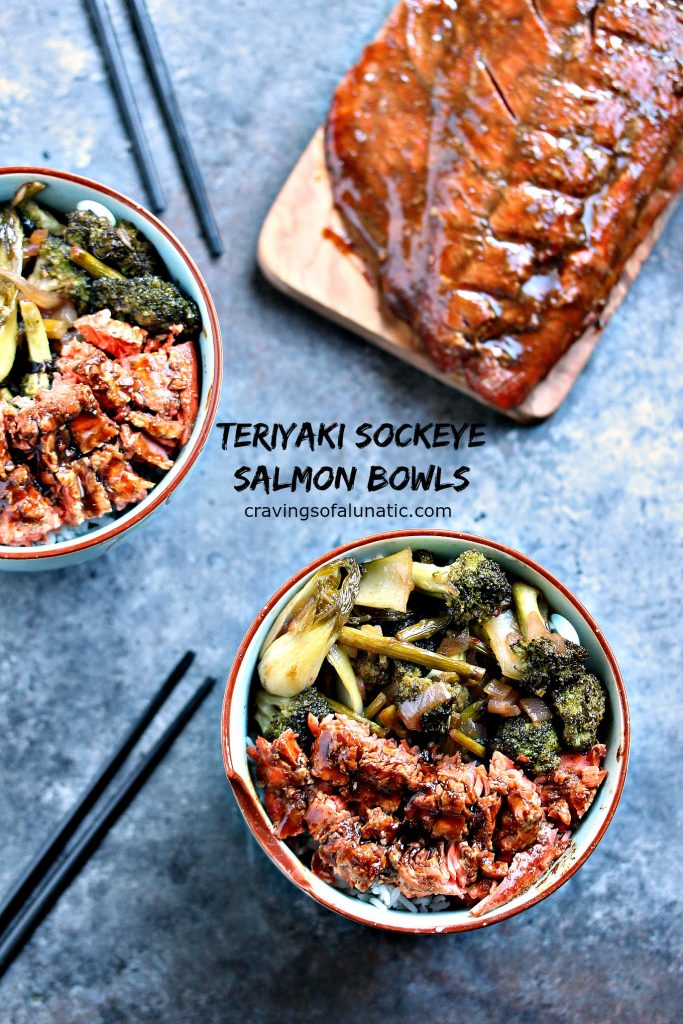 Teriyaki Sockeye Salmon Bowls from cravingsofalunatic.com- This recipe is absolute perfection. Grilled Sockeye Salmon is combined with stir fried vegetables, and made into a delicious bowl recipe. Perfect for lunch, or dinner. (@CravingsLunatic)