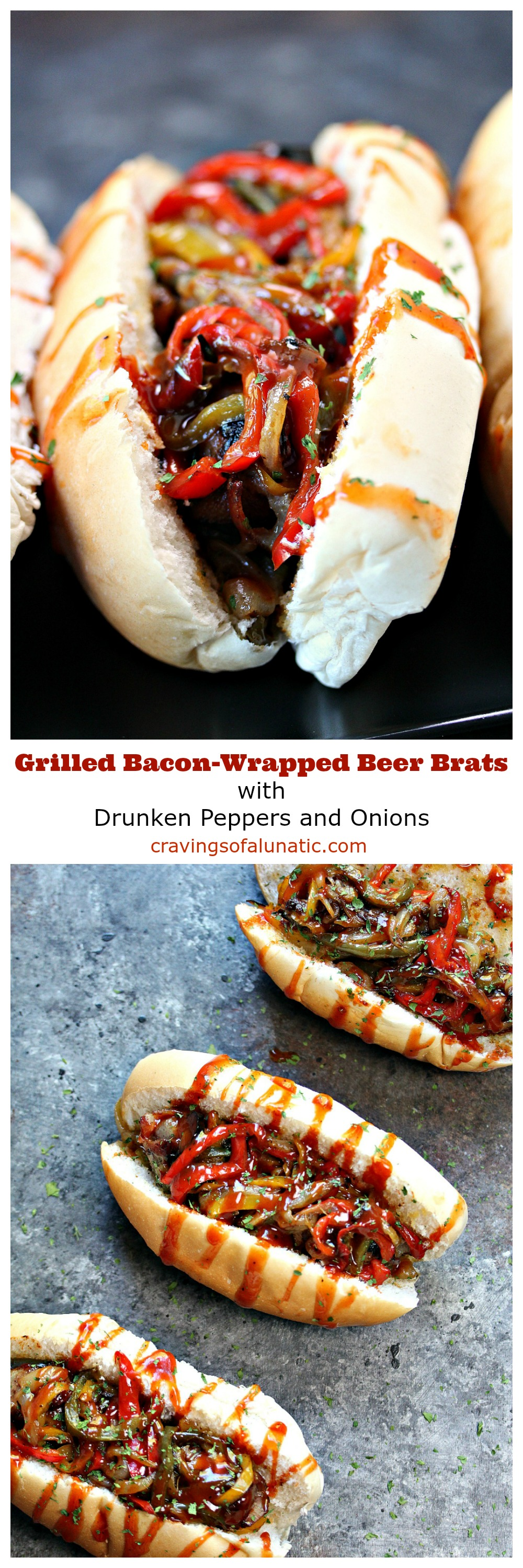 These Grilled Bacon-Wrapped Beer Brats with Drunken Peppers and Onions combine all of your favourite food in one delicious recipe. Fire up that grill and enjoy an epic dinner.