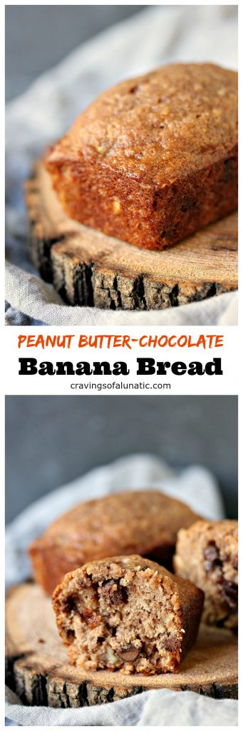 Peanut Butter Chocolate Banana Bread with Walnuts from cravingsofalunatic.com- This peanut butter chocolate banana bread is made with Reese's peanut butter chocolate spread and a whole lotta deliciousness. It's a pound cake worthy of the name. @CravingsLunatic
