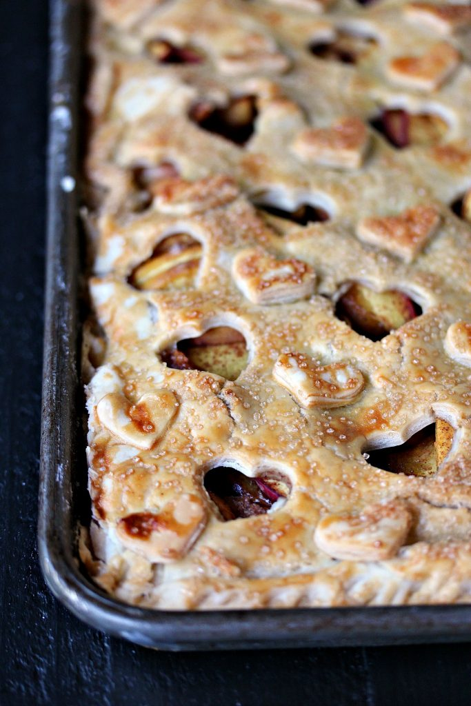 Rustic Peach Slab Pie baked in a cookie sheet