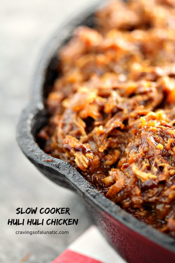 close image of Slow Cooker Huli Huli Chicken with black text overlay