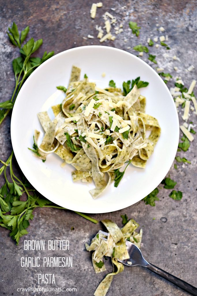 Brown Butter Garlic Parmesan Pasta from cravingsofalunatic.com- This recipe is quick and easy to make. The flavour from the brown butter blends perfectly with the garlic in this pasta. Toss fresh parmesan to your heart's content.