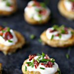 Mini Potato Skins with Sour Cream, Bacon, and Chives