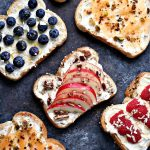 Breakfast Toast Recipes- 4 Ways: Breakfast Toast with Cantaloupe, Pistachios, and Honey. Breakfast Toast with Apples, Pecans, and Honey. Breakfast Toast with Raspberries, Coconut, and Honey. Breakfast Toast with Blueberries, Coconut Chips, and Honey.