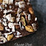 Chocolate Bark with Coconut Chips, Pistachios, and Coffee