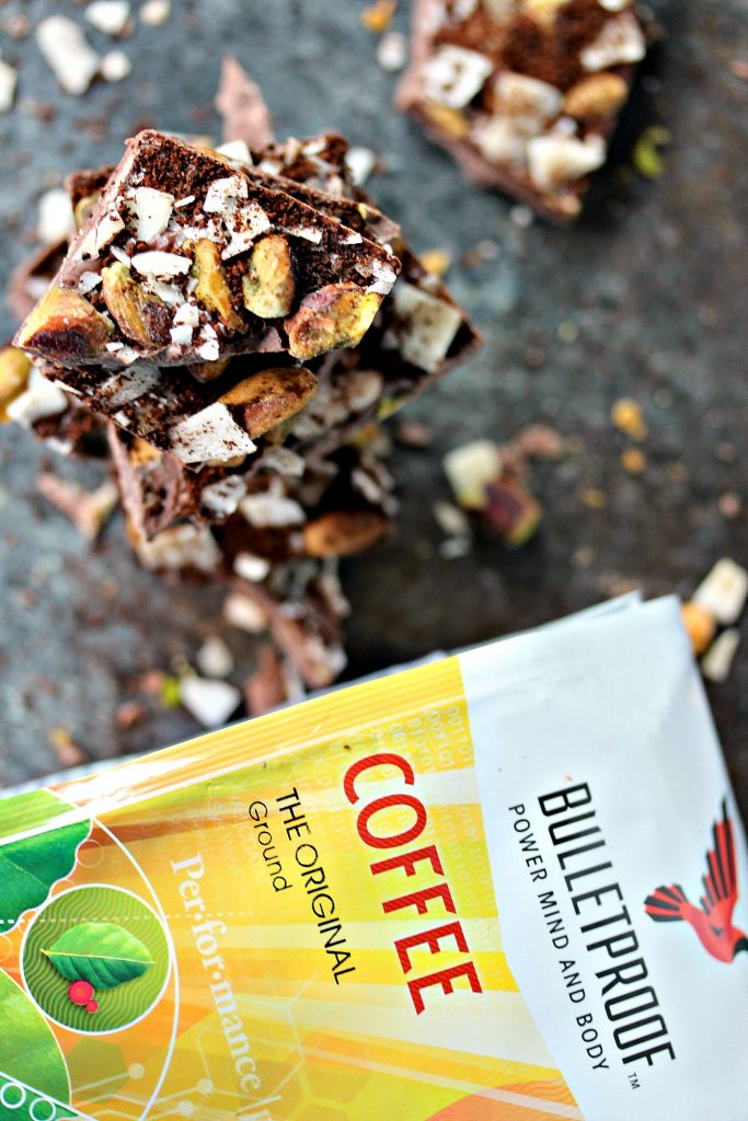 Chocolate Bark with Coconut Chips, Pistachios, and Coffee from cravingsofalunatic.com- This recipe can be made with any kind of chocolate you prefer. Made with coconut chips, chopped pistachios, and finely ground coffee. Epic chocolate bark for coffee lovers!