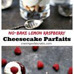 No Bake Lemon Raspberry Cheesecake Parfaits served in mini dessert glasses.