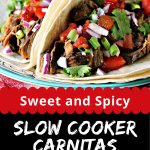 Sweet and Spicy Slow Cooker Carnitas collage image featuring two photos of the finished recipe.