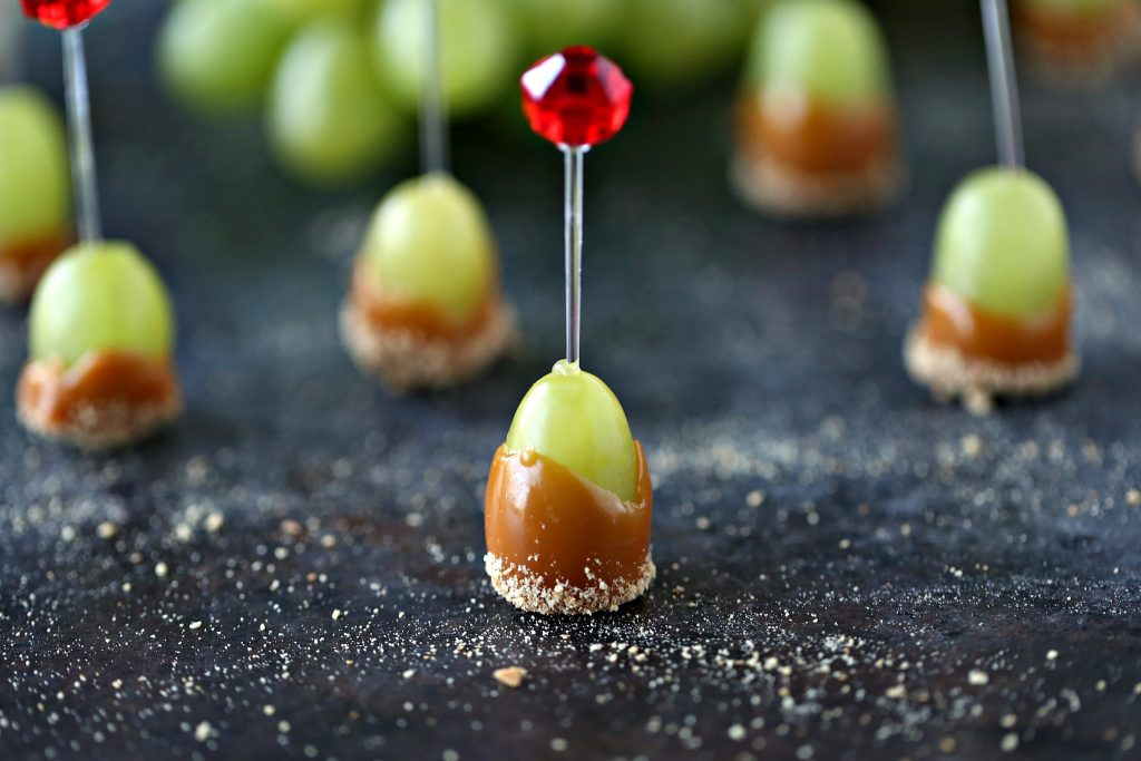 Caramel Dipped Grapes with a toothpick in each
