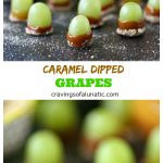 Caramel Dipped Grapes from cravingsofalunatic.com- These caramel dipped grapes are a fun snack idea for the kids. They are simple and fun to make. Perfect little treats for weekends or staycations. Bite sized little bits of pure joy!