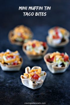 Mini Muffin Tin Taco Bites from cravingsofalunatic.com- Bite size taco cups made in mini muffin tins. These Mini Muffin Tin Taco Bites are perfect for the kids for lunch, dinner, or snacking. They also make great appetizers for parties.