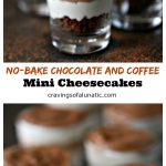 small desserts in tiny shot glasses with layers of coffee chocolate cheesecake
