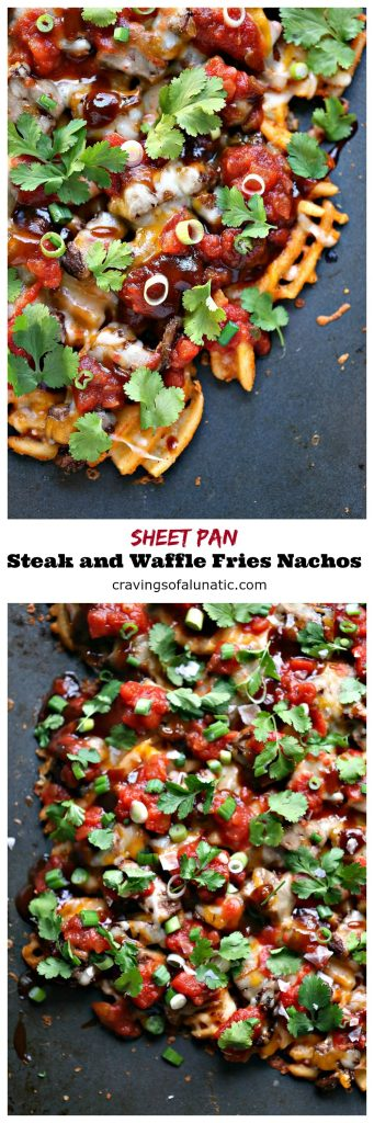 Sheet Pan Steak and Waffle Fry Nachos from cravingsofalunatic.com- These loaded nachos are made with waffle fries, steak and Tex-Mex cheese then topped with barbecue sauce, salsa, onions, and cilantro. All cooked on a sheet pan to make clean up a snap.