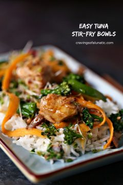 Easy Tuna Stir Fry Bowls on a light blue plate.