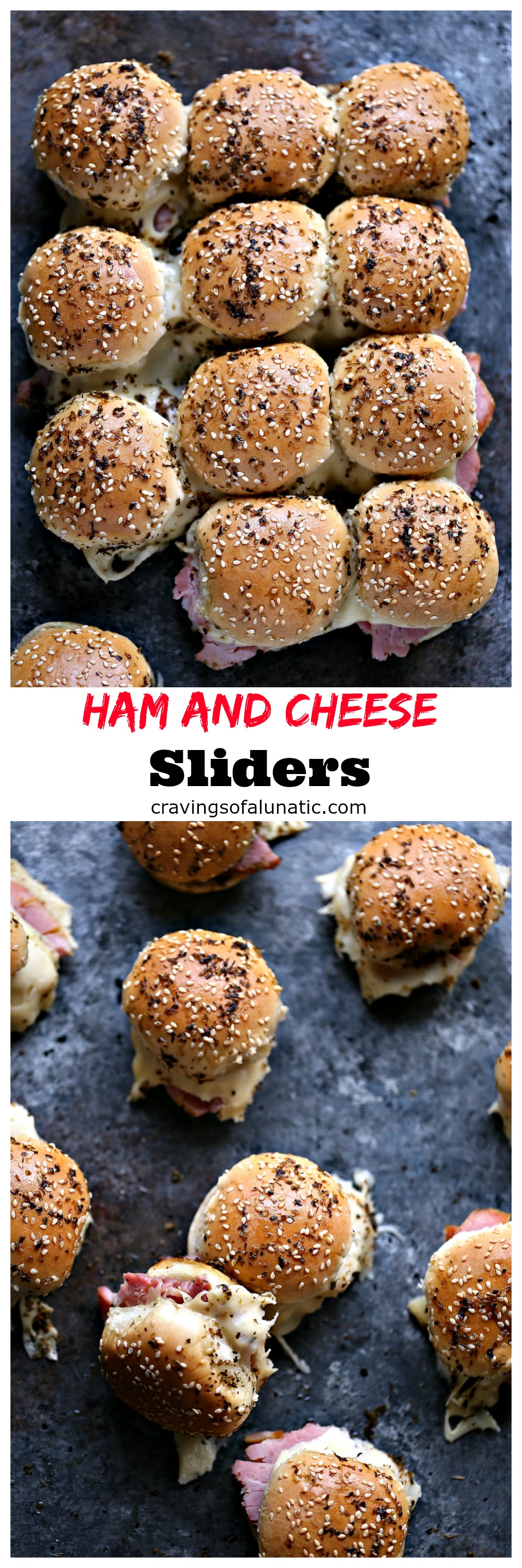 Ham and Cheese Sliders from cravingsofalunatic.com- These Ham and Cheese Sliders put a fun twist on an old classic. This easy recipe is on the table in under 30 minutes. Make an extra batch because these will fly off the platter at rapid speed.
