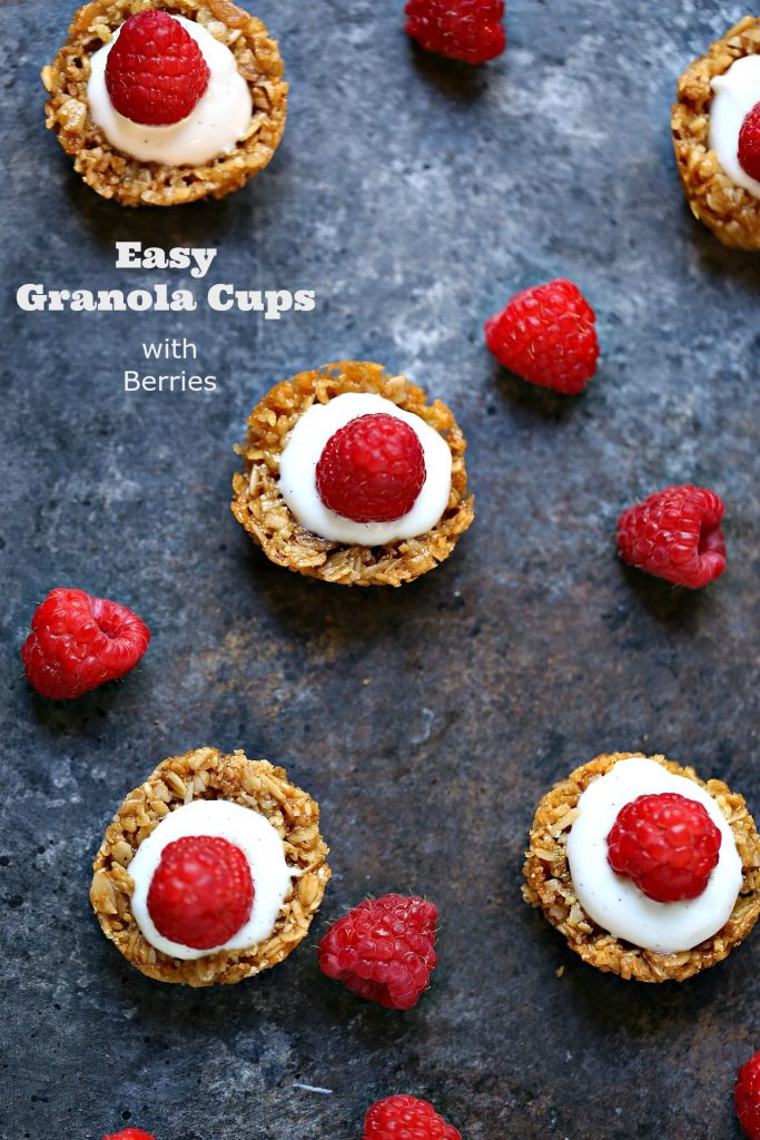 Easy Granola Cups with Berries from cravingsofalunatic.com- This easy recipe for Granola Cups is perfect for people who want a tasty breakfast without much fuss. Top with fresh berries for added deliciousness.