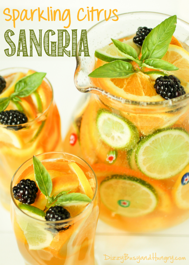Sparkling Citrus Sangria from Dizzy Busy and Hungry- featured on The Best Sangria Recipes by cravingsofalunatic.com- Celebrate summer in epic style with The Best Sangria Recipes! Sangria is so easy to make and super versatile. Whip up a batch today!