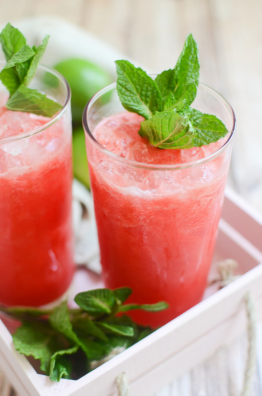 Watermelon Mint Margaritas from Fake Ginger- featured on cravingsofalunatic.com. Kick off the summer season with The Best Margarita Recipes on the block. Sit back, relax, and sip one of these gorgeous margaritas. Or make them all so you can pick your favourite.