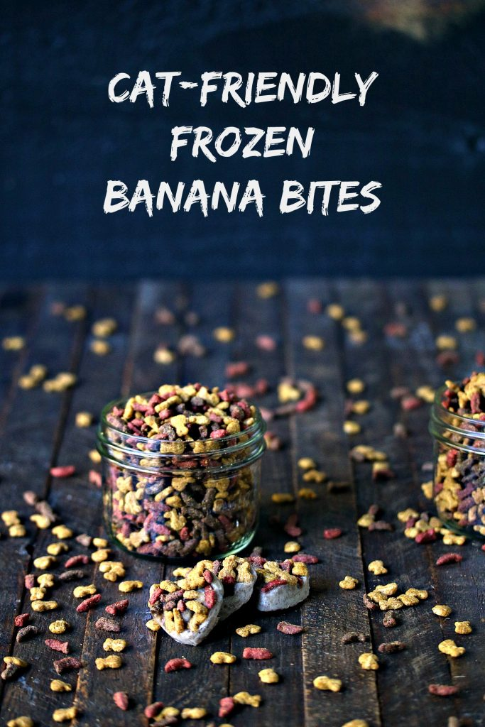 Cat friendly frozen banana bites shaped like hearts are on a dark table with a small mason jar filled with tiny cat treats in the background and treats scattered around the board. Text stating the recipe name is at the top of the photo.