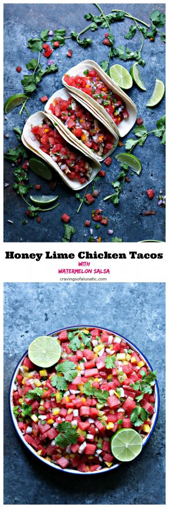 Honey Lime Chicken Tacos with Watermelon Salsa from cravingsofalunatic.com- These Honey Lime Chicken Tacos with Watermelon Salsa are incredibly easy to make. The chicken is grilled to perfection then made into tacos topped with a simple watermelon salsa.