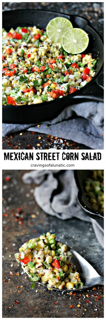 Mexican Street Corn Salad aka Esquites from cravingsofalunatic.com- This Mexican Street Corn Salad is the perfect mix of sweet, salty, and spicy. It's all combined to make an amazing Esquites recipe that will satisfy your corn cravings.