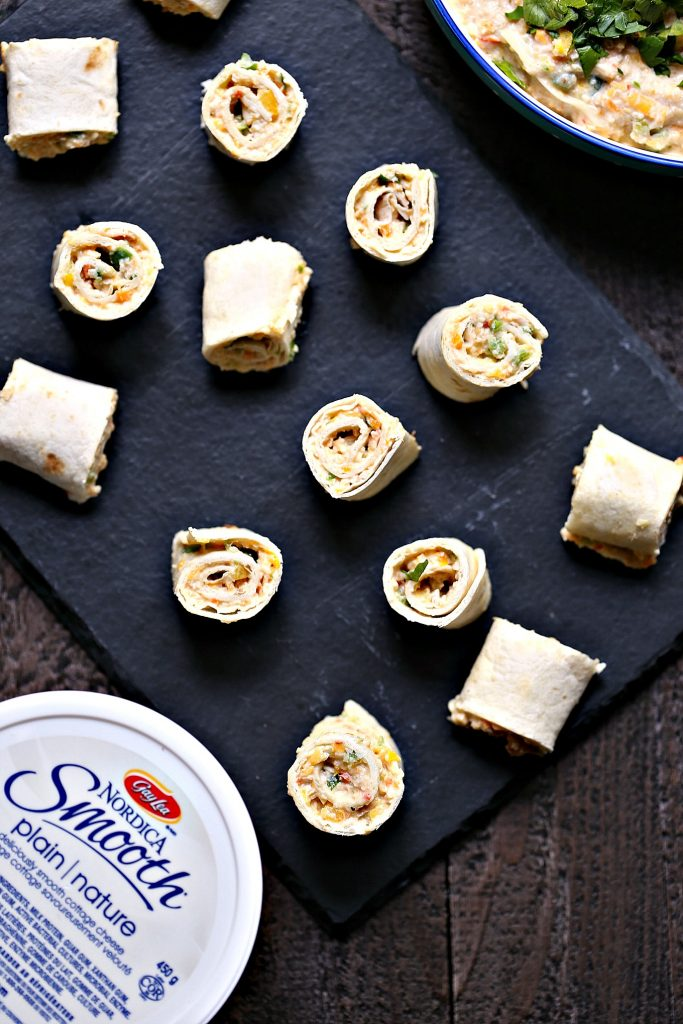 Chicken Fajita Mini Roll Ups from cravingsofalunatic.com- These chicken fajita roll ups are tiny in size but big on flavour! These are perfect to pack in lunches or to use as appetizers for parties.